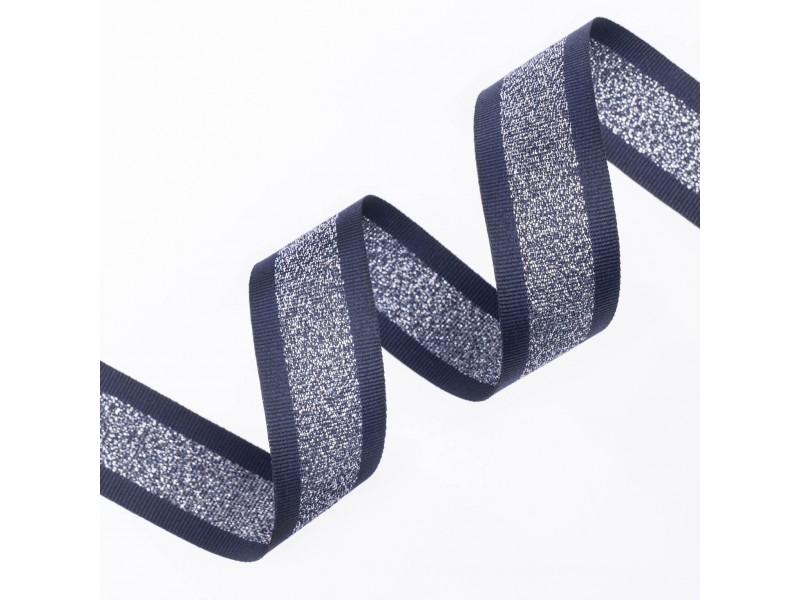 Κορδέλα Gros Μεταλλική Ρίγα 25ΜΜ BLUE-SILVER MET